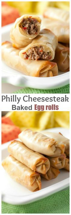 Philly Cheesesteak Baked Egg Rolls recipe with gooey, melted cheese and juicy beef makes for a tasty dinner or party appetizer ready in no time at all! They are baked, not fried! (no bake recipes dinner) Egg Roll Recipes, Easy Dinner Recipes, Appetizer Recipes, Beef Recipes, Cooking Recipes, Jalapeno Recipes, Delicious Appetizers, Dishes Recipes, Sandwich Recipes
