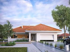 Find home projects from professionals for ideas & inspiration. AMBROZJA 7 by Biuro Projektów MTM Styl - domywstylu. Craftsman Bungalow Exterior, Craftsman Bungalows, Model House Plan, My House Plans, Design Exterior, Exterior House Colors, French Country Exterior, Brick Columns, House Construction Plan