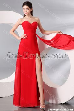 1st-dress.com Offers High Quality Red Chiffon Sexy Long Evening Dress with slit,Priced At Only US$147.00 (Free Shipping)