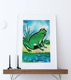 Loteria La Rana Mexican Retro Illustration Art Print Vintage Giclee on Cotton Canvas or Paper Canvas Poster Wall Decor