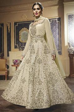 459402 White and Off White  color family Anarkali Suits in Faux Georgette fabric with Machine Embroidery, Resham, Thread work .