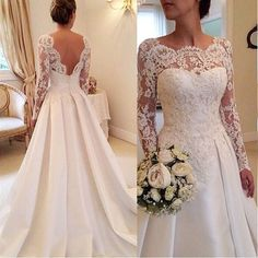 Online Shop 2016 Elegant Vestido De Renda Lace Long Sleeve Wedding Dress Open Back A Line Bridal Gowns Plus Size Satin W3816 | Aliexpress Mobile
