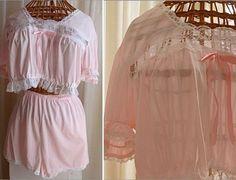 Vintage Pink BABY DOLL PAJAMAS Sleep Set Sz by CottonwoodDrive