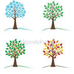 Dört mevsim - Bahar, yaz, Sonbahar, kış ağacında — Stok İllüstrasyon #107811228