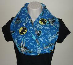 Blue Batman Flannel Infinity Scarf by JaynesDesigns on Etsy, $15.00