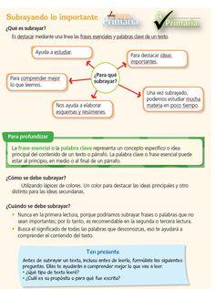 Técnica de subrayado: Técnica de estudio para destacar mediante una línea las frases esenciales y las palabras clave de un texto.