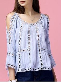 GET $50 NOW   Join RoseGal: Get YOUR $50 NOW!http://www.rosegal.com/blouses/elegant-blue-cold-shoulder-hollow-out-crochet-blouse-for-women-550591.html?seid=6393197rg550591