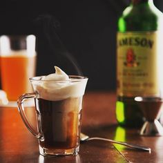Jameson Irish Whiskey is the perfect choice if you want to create a delicious Irish Coffee. Add coffee, dark brown sugar, whipped cream and enjoy!  #TopShelf #IrishCoffee #OrderNow