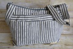 Camera Bag, upholstery weight designer fabric Black Striped Tote,  slouch purse, messenger strap by Darby Mack