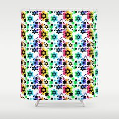 Rainbow Floral Abstract Flower Shower Curtain #decampstudios Customize your bathroom decor with unique shower curtain designed by decamp studios. Made from 100% polyester, this shower curtain is printed in the USA and feature a 12 button-hole top for simple hanging. The easy care material allows for machine wash and dry maintenance. Curtain rod, shower curtain liner and hooks not included. Dimensions are 71in. by 74in.