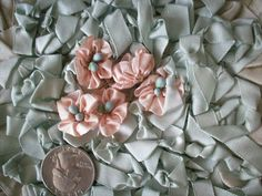 Beautiful silk ribbon work flower authentic 1920s