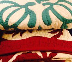 Hawaiian Quilts - aqua and red