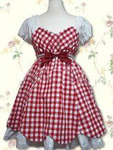 Cotton Red And White Shepherd Check Cosplay Lolita Dress