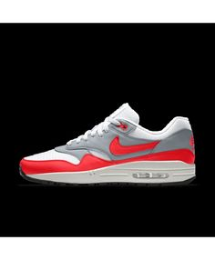 new style 404b7 3db0f Nike Air Max 1 Essential Id Grey Red White Womens Shoes Outlet