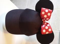 Minnie Mouse inspired Baseball Cap with Red Polka Dot Bow and Ears by GigisFlowerFancy on Etsy