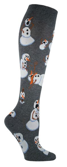 This snowman is really twisted... the horror... Knee high socks with snowmen doing very bad things. Available in black or charcoal. Fits a women's US show size 5-10.