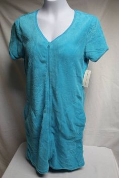 NEW Womens Spa Shower Bath Swim Cover Up Medium Zip Robe Loungewear Blue Pockets #BobbieBrooks #Robes $12.89 + $3.84 s/h