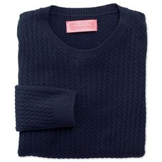 Navy pure lambswool crew neck cable knit