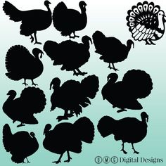 12 Turkey Silhouette Clipart Images Clipart by OMGDIGITALDESIGNS