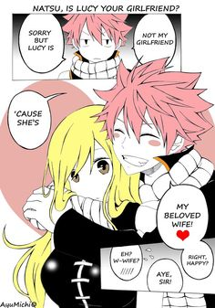 """Fairy Tail ~~Natsu and Lucy~~ by AyuMichi-me on Deviant Artist -Lucy """"Really Natsu"""".-Natsu """"Yes Lucy Yes ; Fairy Tail Love, Fairy Tail Nalu, Image Fairy Tail, Fairy Tail Natsu And Lucy, Fairy Tale Anime, Fairy Tail Ships, Fairy Tales, Fairytail, Jerza"""