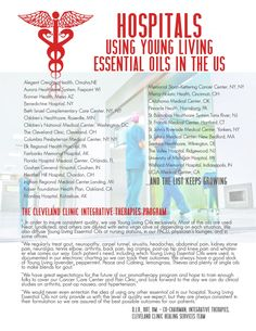 List of Hospitals that use Young Living Essential Oils