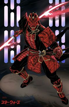 Darth Maul Samurai art by Eric Ninaltowski Star Wars Pictures, Star Wars Images, Samurai Artwork, Ninja Art, Star Wars Sith, Star Wars Outfits, Shadow Warrior, Superhero Design, Star Wars Wallpaper