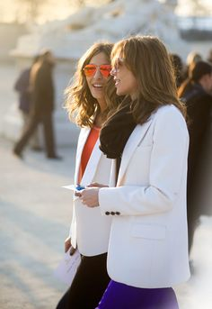 Bold pants, white blazer and my new obsession, mirrored aviator sunglasses. The perfect professional look for summer.