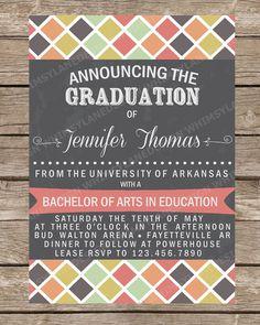 Graduation Announcement, Graduation Invitation, Class of 2014, High School, College, Printable, Tribal, Personalized