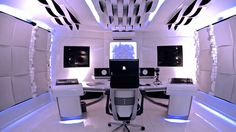 Morel Muziek BV studio design shared these images of the White Universum Studio – a studio that looks a bit like director Stanley Kubrick designed a synth cave in space. Check out these image… Home Music Rooms, Music Studio Room, Studio Desk, Audio Studio, Studio Layout, Home Recording Studio Setup, Video Game Rooms, Desktop, Audio Room