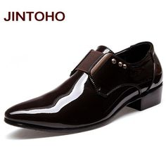 JINTOHO Men Dress Italian Leather Shoes Slip On Fashion Men Leather Moccasin Glitter Formal Male Shoes Pointed Toe Shoes For Men
