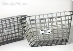 DIY spray paint plastic bins with silver paint to look like silver metal  Dollar Store Craft Faux Zinc Basket