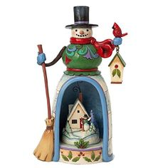 Jim Shore for Enesco Heartwood Creek Snowman with Lighted Winter Scene Figurine 975Inch *** You can get more details by clicking on the image.