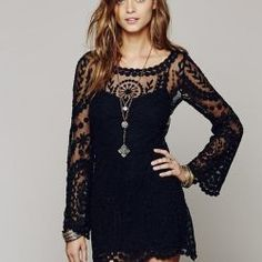 black lace bell sleeve dress for spring