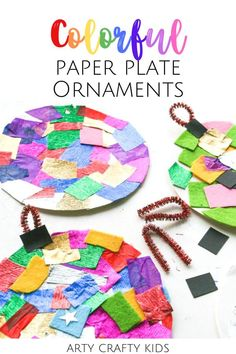 Looking for easy Christmas ornaments for kids to make at home or at preschool? These paper plate Christmas ornaments for kids are so colorful   made with paper plates   tissue paper or construction paper. Get instructions for these paper plate DIY Christmas ornaments for kids to make   other paper plate Christmas crafts for kids here! Handmade Christmas ornaments for kids to make | Easy Ornament Crafts for Kids | Easy Christmas Crafts for Kids Ornaments | Christmas Paper Plate Crafts for… Christmas Paper Plates, Preschool Christmas Crafts, Christmas Art Projects, Easy Christmas Ornaments, Christmas Crafts For Kids To Make, Easy Crafts For Kids, Craft Activities For Kids, Handmade Christmas, Diy Christmas