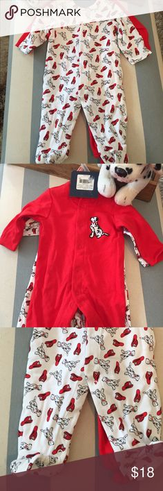 NWT 0-3 mos. Fireman Baby Bundle! 2 Sleep-n-Plays So, so cute! Bundle includes 2 NWT 0-3 mos. sleep-n-play outfits with covered feet. One white print and one red with an embroidered Dalmatian. 100% cotton. Also included is the NWT stuffed Dalmatian puppy. Incredibly baby-soft, but not baby-friendly, so be sure to put him up out of reach! One Pieces Footies