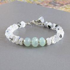 White Labradorite Ocean Chalcedony Aqua Blue Green Gemstone Sterling Silver Bead Bracelet