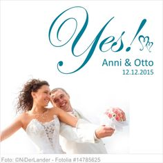Wandtattoo Hochzeit Yes mit Vornamen und Datum 04