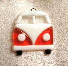 Fused Glass Volkswagen Van Suncatcher Ornament by DogwoodHillGlass