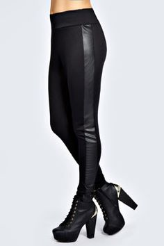 Emily Leather Look Front High Waisted Leggings at boohoo.com (24.00)