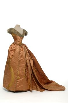 Two-Piece Dress (image 1) | House of Worth | Paris | 1885 | satin, tulle, sequins | Les Art Decoratifs