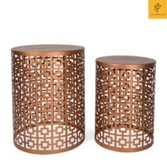 Add a rustic luxe look to your home with this round copper sIde Table made from iron and with intricate square cutouts.Measurements:Small - 35x30x35cm @ $188Large - 30x45x40cm @$225Looking to add a touch of style to your home decor