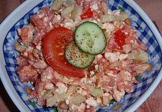 Vajíčková nátierka s cottage syrom Pasta Salad, Cobb Salad, Grains, Rice, Cottage, Ethnic Recipes, Food, Red Peppers, Crab Pasta Salad