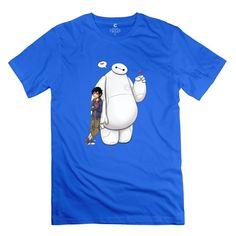 Men Hiro Baymax Customized O Neck Black Tee Shirts By Mjensen