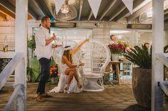 Photo by Scott Surplice > Boho > Wedding > The Boathouse Palm Beach > Bride > Groom > bunting > Peacock chair > wedding toast > flower grown @graceloveslace @hellomaymag @bhpbweddings @ashdownandbee