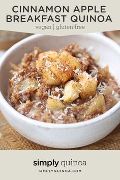 This Cinnamon Apple Breakfast Quinoa is the BEST healthy and gluten-free breakfast! Easy recipe that is fiber and protein-packed! Such a cozy bowl, just leave out the honey to make vegan! Recipes for 2 Cinnamon Apple Breakfast Quinoa - Simply Quinoa Apple Breakfast, Breakfast And Brunch, Healthy Breakfast Recipes, Clean Eating Recipes, Clean Eating Snacks, Cooking Recipes, Easy Recipes, Breakfast Ideas, Keto Recipes