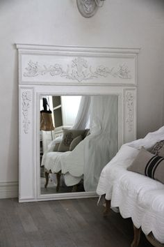 Creative Halloween Costumes - The Best Way To Be Artistic Over A Budget White French Mirror Fireplace Mirror, White Fireplace, Trumeau Mirror, Mirror Trim, Mirror Mirror, French Decor, French Country Decorating, Jeanne D'arc Living, Bedroom Sitting Room