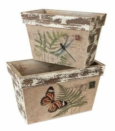 Pack of 4 Distressed Wooden Dragonfly and Butterfly Decorative Boxes Decoupage Art, Decoupage Vintage, Shabby Vintage, Diy Wood Box, Wood Boxes, Vasos Vintage, Bedroom Crafts, Diy Plant Stand, Shabby Chic Crafts