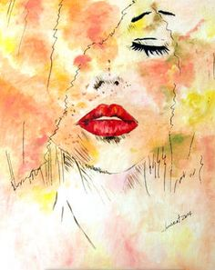 """""""Lady With Red Lips,"""" original portrait painting by artist  Clement Tsang (Hong Kong) available at Saatchi Art #SaatchiArt"""