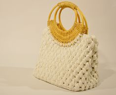 Crochet White Bag With Knitted Bamboo Handles And Faux Leather Bottom, Women White Cotton Summer Bag, Handmade Luxurious Bag, Gift For Mum Human Trafficking, Summer Bags, Knit Or Crochet, Gifts For Mum, White Cotton, Printed Cotton, Straw Bag, Bamboo, Trending Outfits