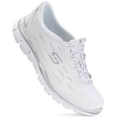 Skechers Gratis ($63) ❤ liked on Polyvore featuring shoes, white, synthetic shoes, stitch shoes, white slip on shoes, white rubber shoes and patterned shoes